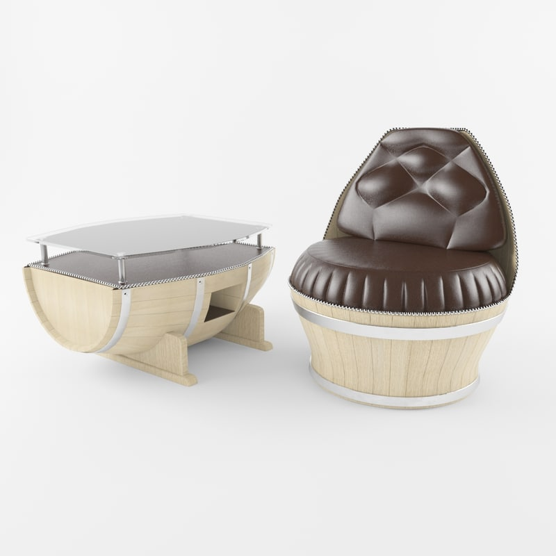 barrel chair table 3d model