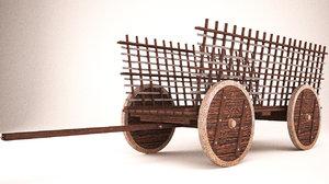 wooden cart 3d ma