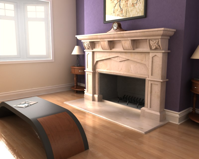 3d model of fireplace place