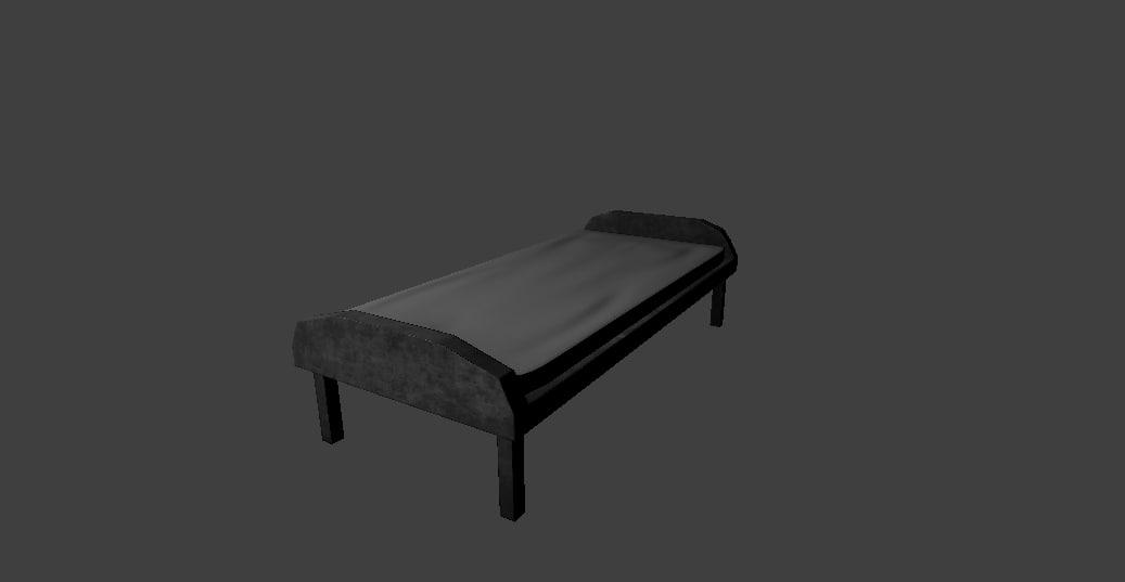 low-poly metal bed 3d blend