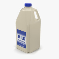 3d model milk half gallon plastic bottle