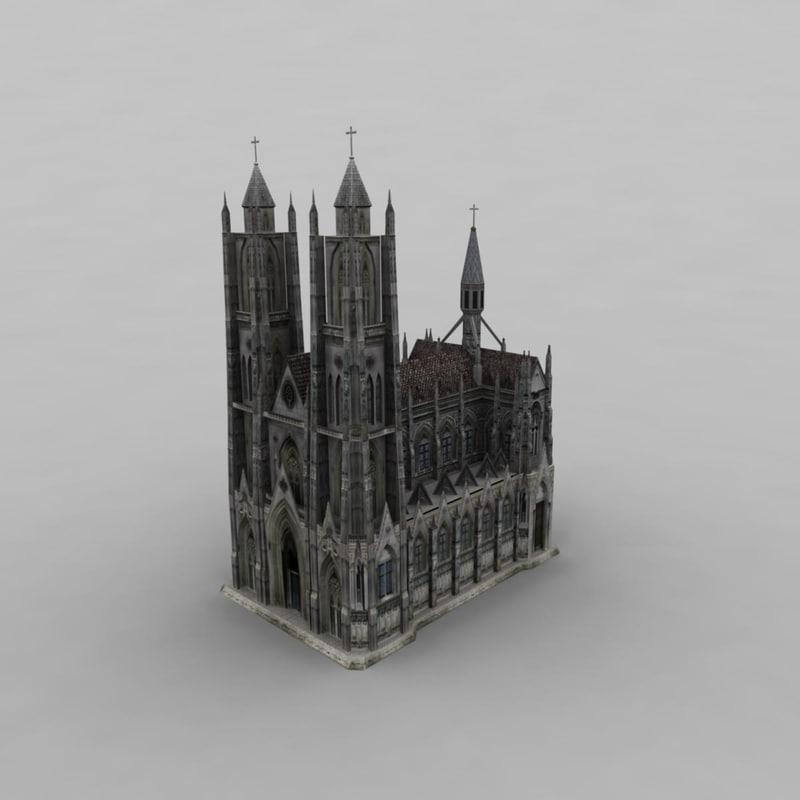 3d 3ds church modelled