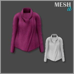 3d sweater purple model