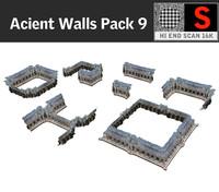 3d acient walls pack 9