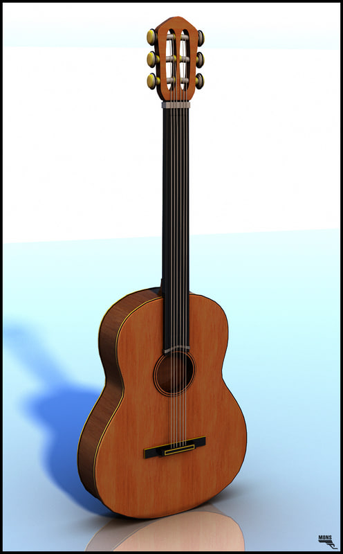 spanish guitar 3d obj