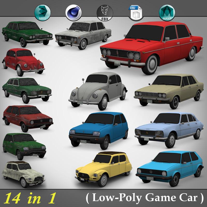 3d 14 1 low-poly car model