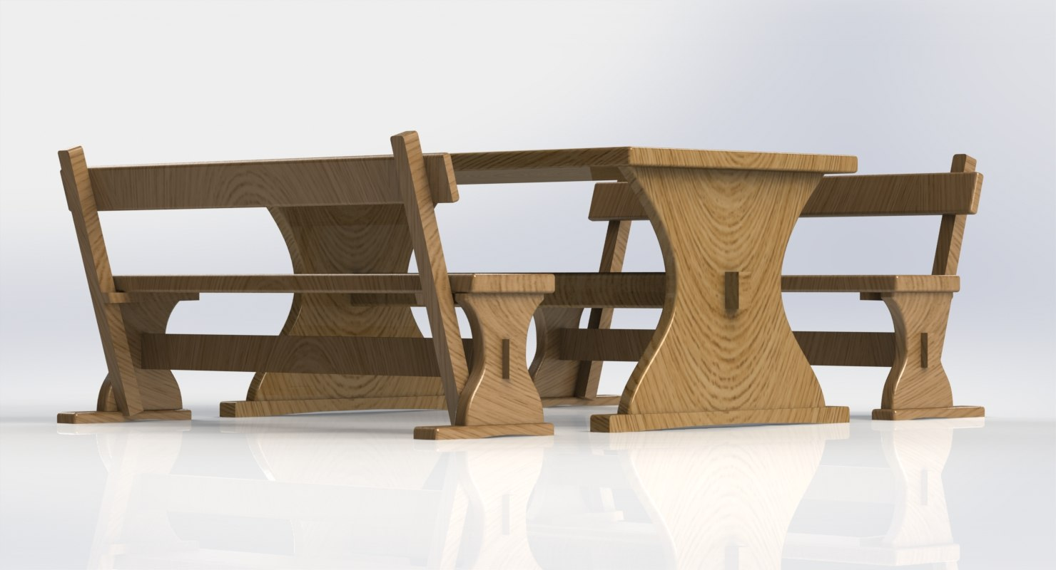 3d ige garden picnic table