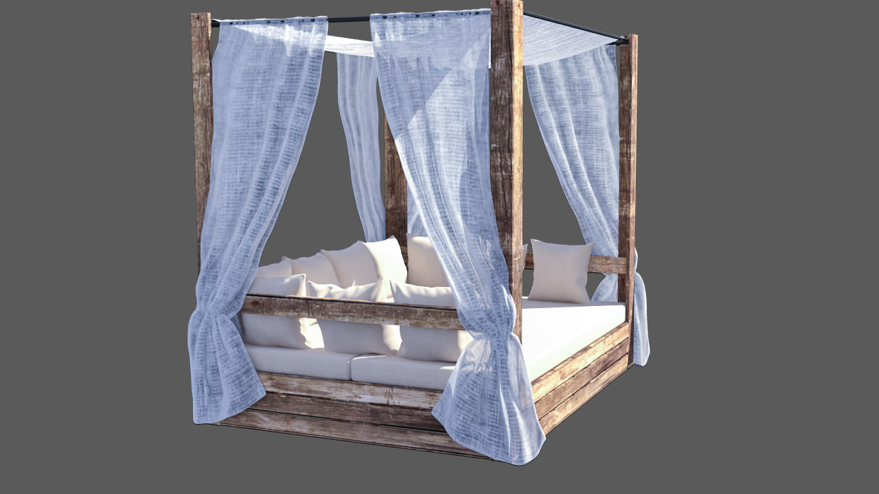 balinese bed pallets editable 3d max