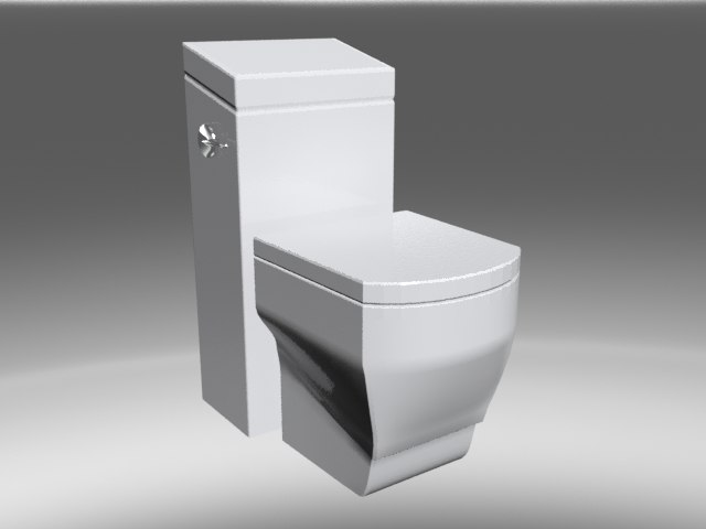 square bathroom toilet 3d model