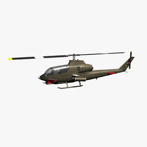 ah-1g cobra attack helicopter 3d max