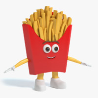 3d model french fries character