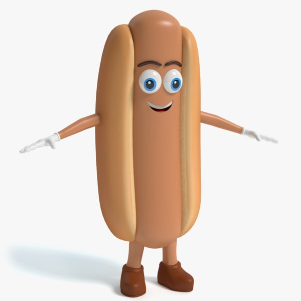 3d cartoon hot dog character