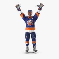 hockey player islanders rigged 3d max