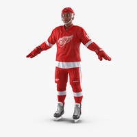 3d hockey player detroit red
