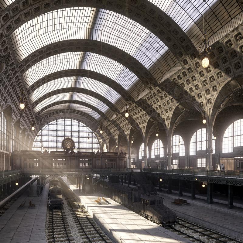 3d model photorealistic la gare d