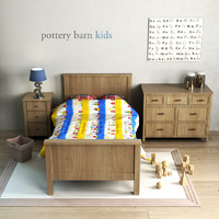 3d model pottery barn charlie bed