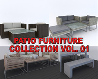 3d model of realistic patio furnitures