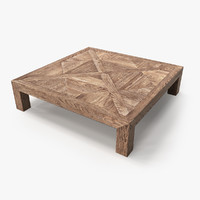 3d model of table old wood