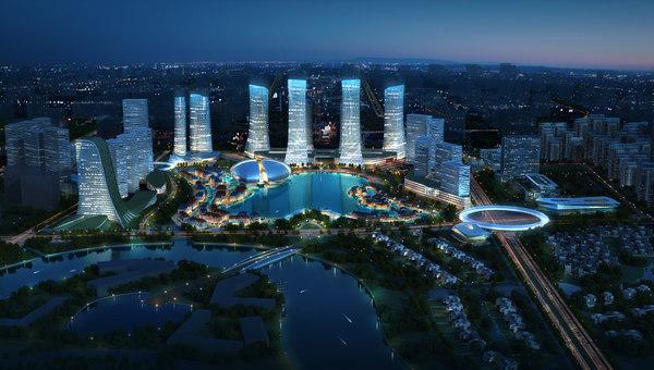 3d cityscape architectures road model