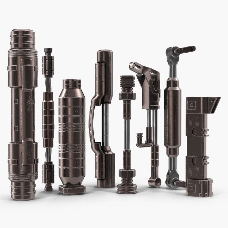 anodized ram hydraulic cylinders 3d model