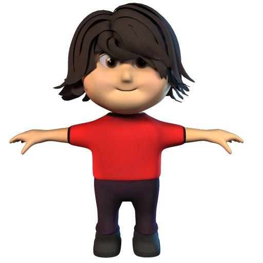 3d model cute kid