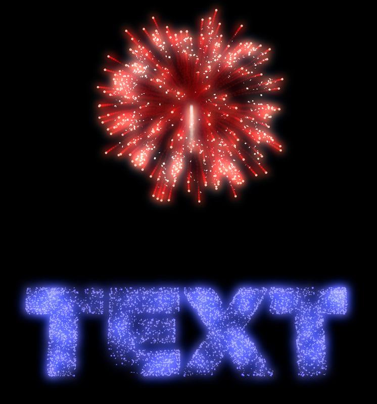 fireworks text 3d model