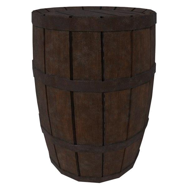 3d ready wooden barrel