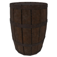 3d ready wooden barrel