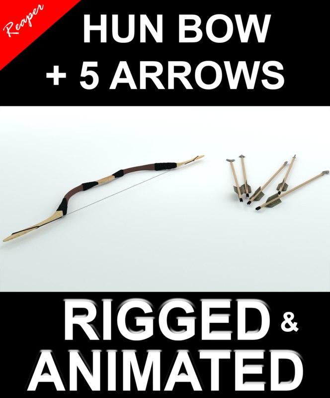 3d hun bow arrows model