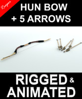 3d hun bow arrows model