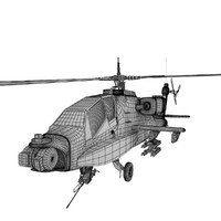 3d model apache gunship helicopter