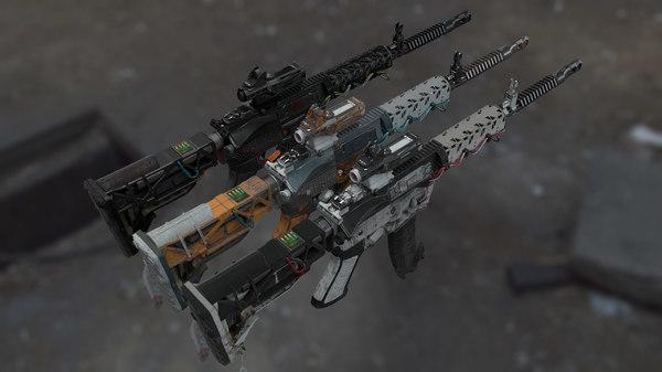 ar15 scifi gun obj