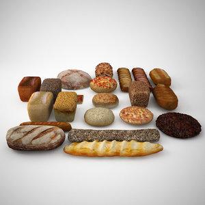 bread roll bun 3d model