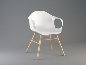 chair kristalia elephant wood 3d model
