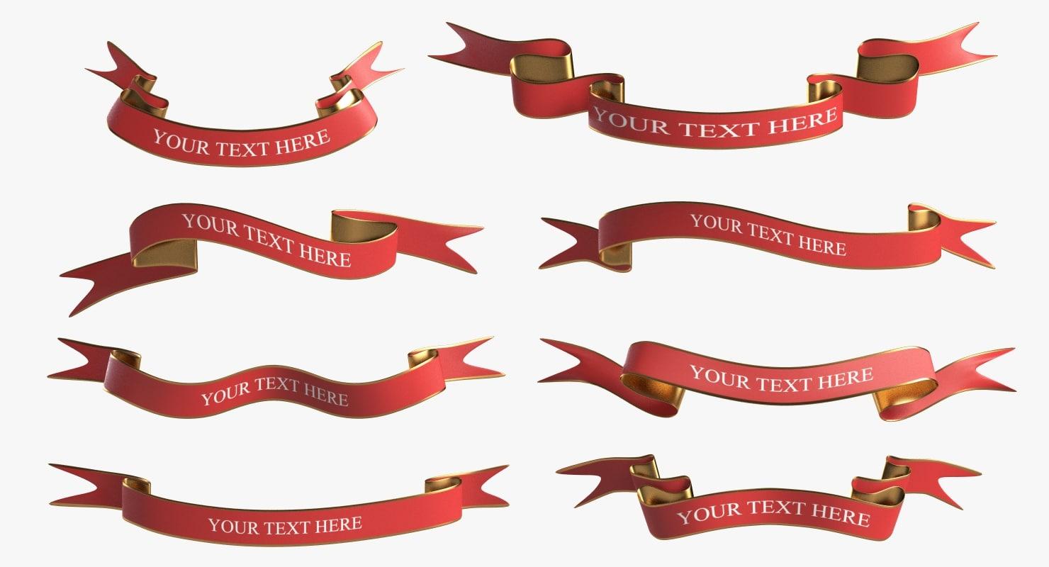 3d model banner ribbons