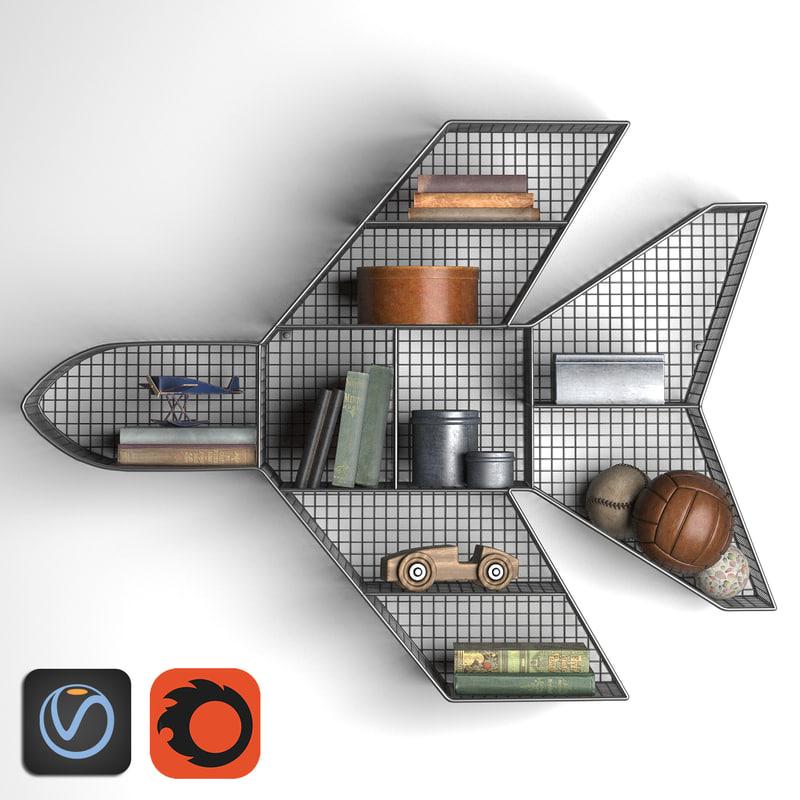 3d model shelf jet zinc