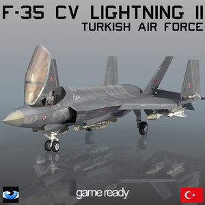 3d model turkish air force f-35