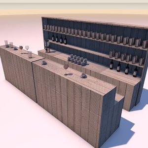 bar wood furniture 3d model