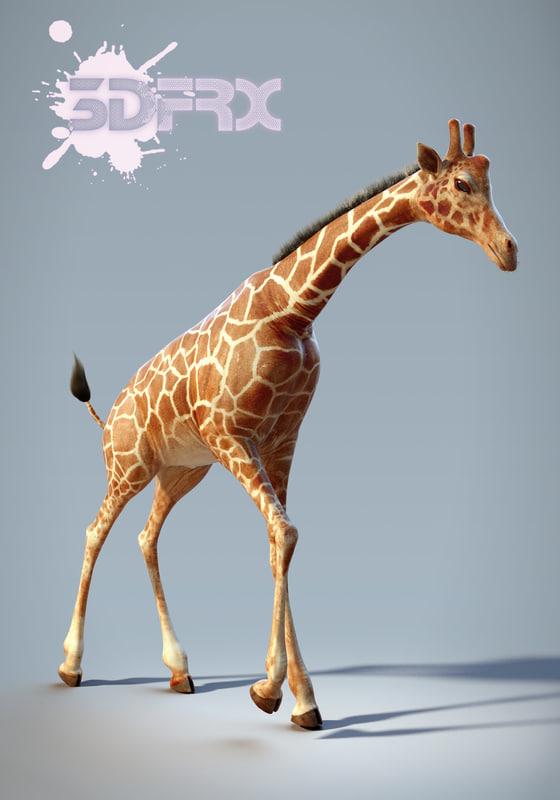 hd giraffe rigged posed max