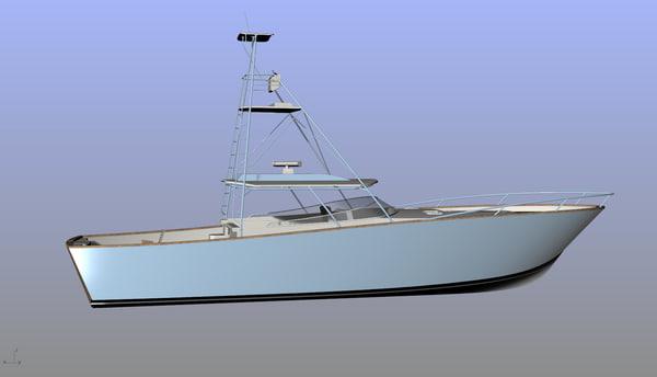 3d model sport fishing boat