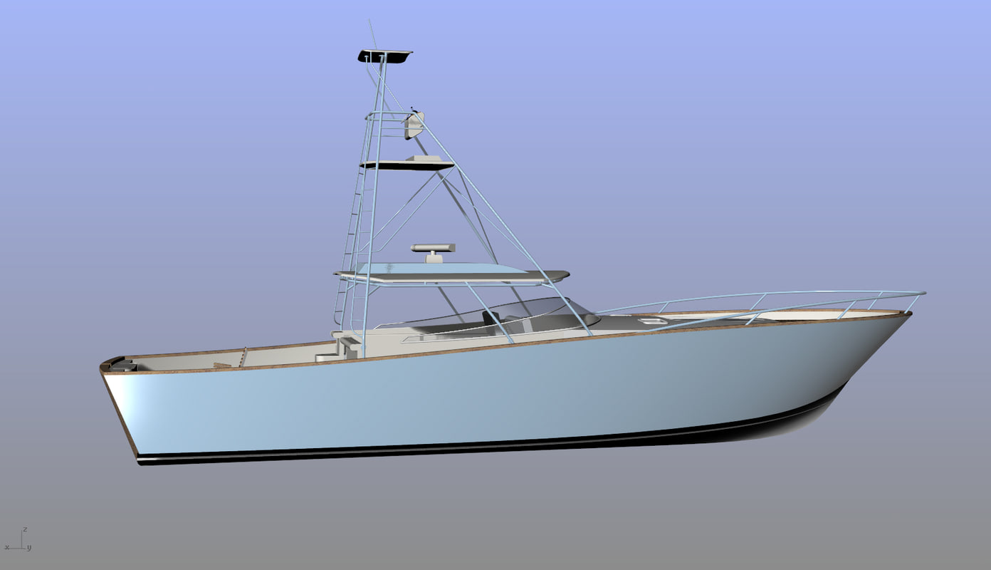 3d model sport fishing boat