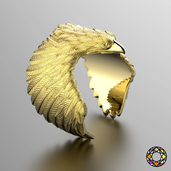 3d model eagle fashion ring