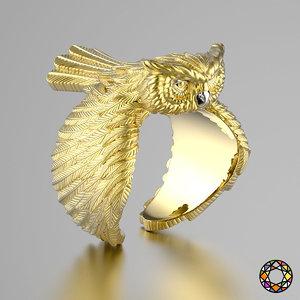 x owl fashion ring