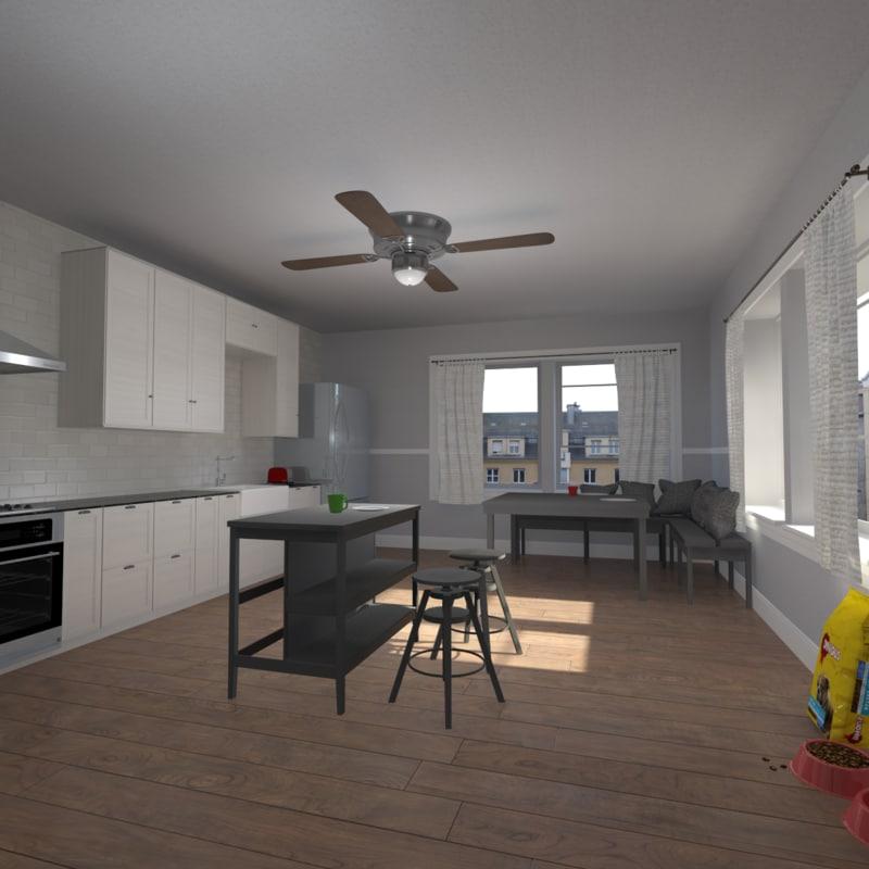 Indian Kitchen Design Software: Kitchen Interior 3d Model