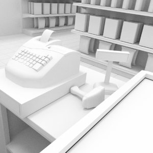 interior supermarket 3d model