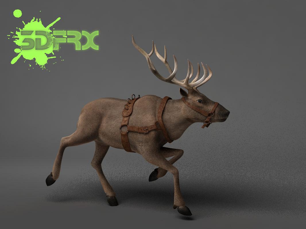 3d model of rigged posed reindeer