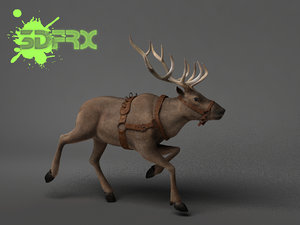 3d model of rigged posed reindeer