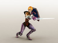 obj fantasy warrior girl 1