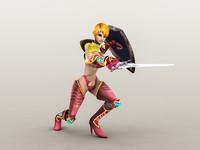fantasy warrior girl 2 3d model