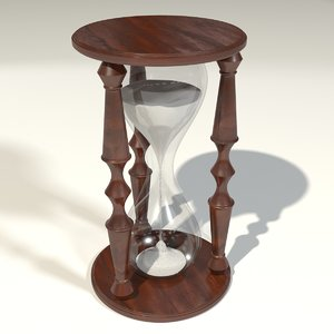 3d hourglass wood white model